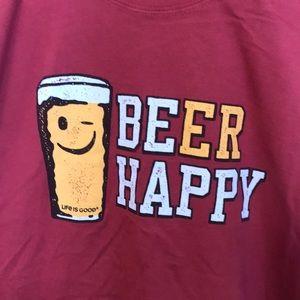 Men's Life is good Beer Happy T shirt